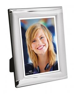 Portafoto in metallo lucido e satinato per foto 13x18 cm.13x1,2x18h