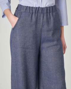 Pantaloni palazzo in cotone misto lino effetto demin
