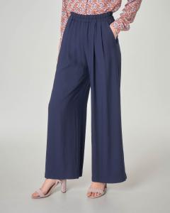 Pantaloni palazzo blu in misto viscosa con elastico in vita