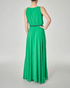 Abito lungo verde smeraldo senza maniche con cintura in lurex