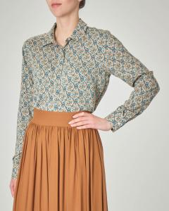 Camicia in viscosa ottanio a fantasia geometrica color beige