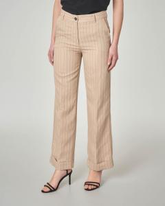 Pantaloni beige gessati in misto viscosa con risvolto