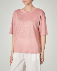 T-shirt rosa in lino con maniche tre quarti