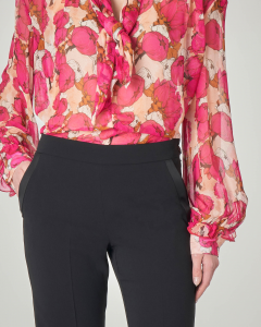 Blusa in georgette di viscosa a manica lunga a fantasia floreale rosa