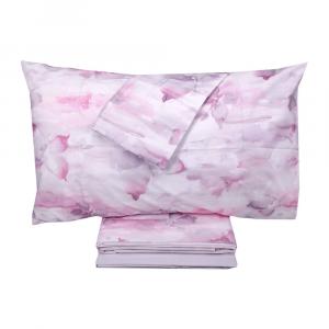 Set lenzuola matrimoniale 2 piazze HAPPIDEA SCIROCCO rosa effetto copriletto