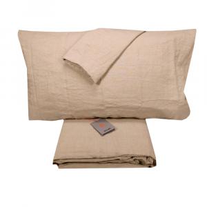 Completo lenzuola matrimoniale puro lino LANEROSSI Lipari sabbia