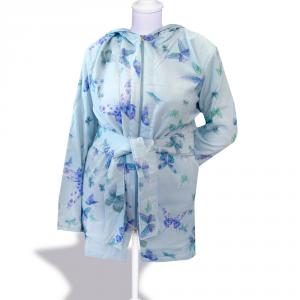 Accappatoio copricostume donna con cappuccio MIRABELLO cotone BUTTERFLY azzurro