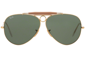 Ray Ban - Occhiale da Sole Uomo, Shooter G-15 Classic, Gold/Mirror Green RB3138 001 C58