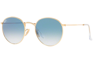 Ray Ban - Occhiale da Sole Uomo, Round Flat Lenses, Gold/Mirror Light Blue RB3447N 001/3F C53