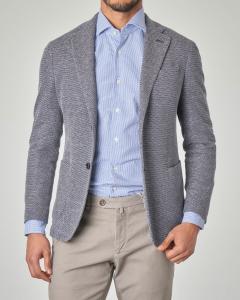 Giacca blu e bianca in cotone e lino