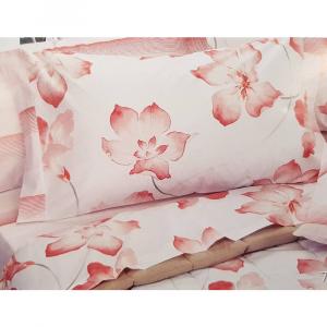 Set lenzuola Letto matrimoniale EDEN stampa digitale a fiori in cotone Rosa