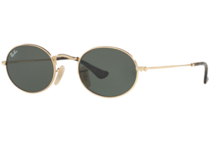 Ray Ban - Occhiale da Sole Unisex, Oval Flat Lenses G-15 Classic, Gold/Mirror Green RB3547N 001 C48