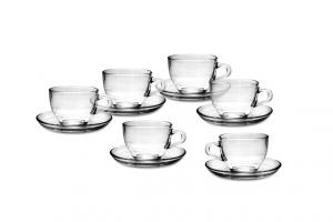 Tazzina caffè in vetro con piattino cm.5,7h diam.6,4