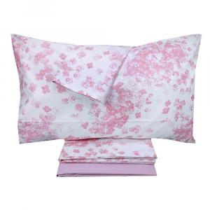 Set lenzuola matrimoniale 2 piazze SOMMA in percalle JARDIN FLEURI rosa