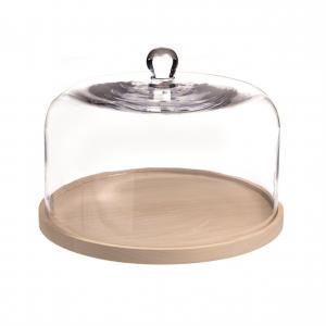 Campana cupola in vetro con piatto in legno MDF cm.21,5h diam.31,5