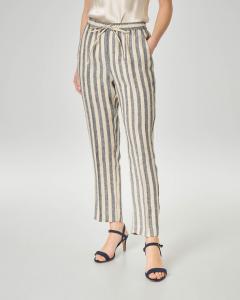 Pantaloni in lino beige a righe blu con elastico in vita