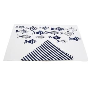 Set all'americana - 2 tovagliette + 2 tovaglioli Mediterraneo Bianco Blu