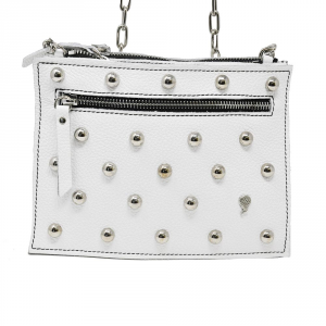 Luna Tris borchiata in pelle colore bianco - LUNA BAG