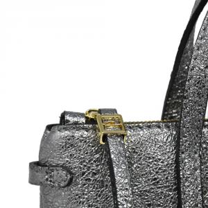 Micro bag in pelle laminata color argento - GIANNI CHIARINI