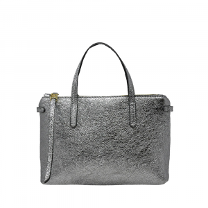 Micro bag in pelle laminata color argento - GIANNI CHIARINI
