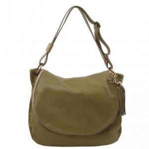 Tuscany Leather TL141110 TL Bag - Borsa morbida a tracolla con nappa Verde Oliva