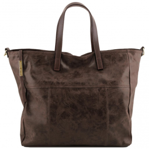 Tuscany Leather TL141552 Annie - Borsa shopping TL SMART in pelle effetto invecchiato Testa di Moro