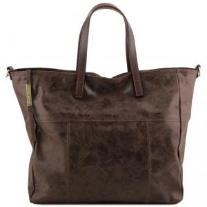 Tuscany Leather TL141552 Annie - Borsa shopping TL SMART in pelle effetto invecchiato Testa di Moro