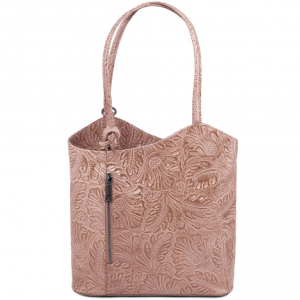 Tuscany Leather TL141676 Patty - Borsa donna convertibile a zaino in pelle stampa floreale Nude
