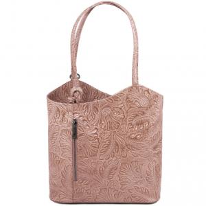 Tuscany Leather TL141676 Patty - Borsa donna convertibile a zaino in pelle stampa floreale Nude