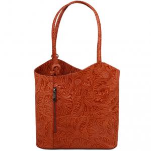 Tuscany Leather TL141676 Patty - Borsa donna convertibile a zaino in pelle stampa floreale Brandy