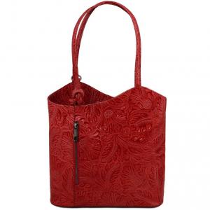 Tuscany Leather TL141676 Patty - Borsa donna convertibile a zaino in pelle stampa floreale Rosso