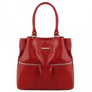 Tuscany Leather TL141722 TL Bag - Borsa a spalla in pelle con tasche frontali Rosso
