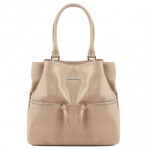 Tuscany Leather TL141722 TL Bag - Borsa a spalla in pelle con tasche frontali Talpa chiaro