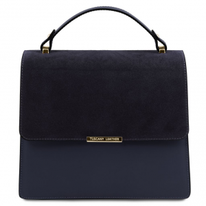 Tuscany Leather TL141745 Irene - Borsa a mano in pelle con tracolla a catena Blu scuro