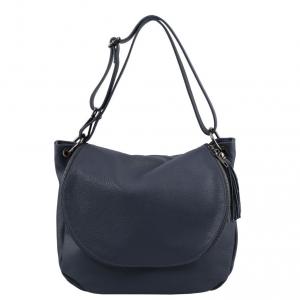 Tuscany Leather TL141802 TL Bag - Borsa morbida a tracolla con nappa Blu scuro