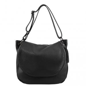 Tuscany Leather TL141802 TL Bag - Borsa morbida a tracolla con nappa Nero