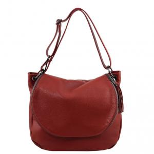 Tuscany Leather TL141802 TL Bag - Borsa morbida a tracolla con nappa Rosso