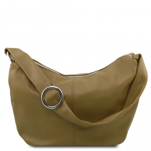 Tuscany Leather TL140900 Yvette - Borsa hobo in pelle morbida Verde Oliva