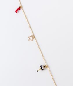 Collana lunga in ottone galvanizzato con ciondoli