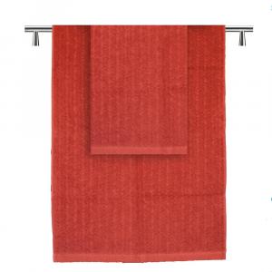 Asciugamani coppia spugna set 1+1 Missoni Home Orio var. mattone OFFERTA