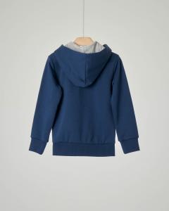 Felpa blu con cappuccio e zip