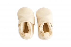 Scarpine neonato panna in cotone biologico