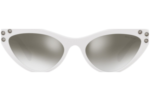 Miu Miu - Occhiale da Sole Donna, Core Collection Logomania, Black White/ Gradient Grey Mirror Silver MU 05TS 4AO5O0 C55