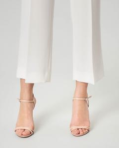 Pantaloni in cady bianchi dritti lunghezza sopra la caviglia