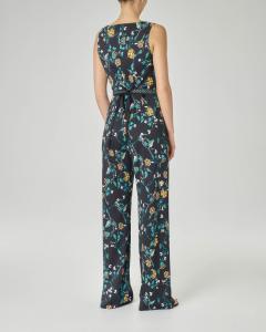 Tuta in viscosa senza maniche e pantaloni ampi con disegni floreali gialli e smeraldo