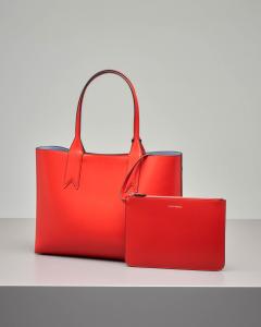 Shopping bag in ecopelle liscia rossa con logo forato