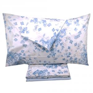 Set lenzuola matrimoniale 2 piazze SOMMA in percalle JARDIN FLEURI azzurro