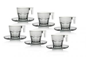 Set di 6 tazzine caffè in vetro temperato con piatto