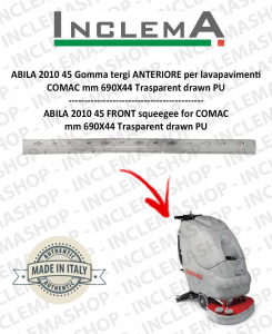 ABILA 2010 45 Gomma tergi ANTERIORE per lavapavimenti COMAC Plastic Sq. From 111011126