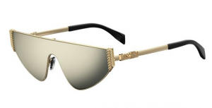 Moschino - Occhiale da Sole Donna, Flat Top Bijou Chain, Gold/ Grey Gold MOS022/S J5G/UE  C99